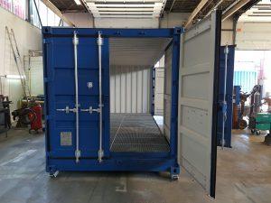 Open side container met roostervloer